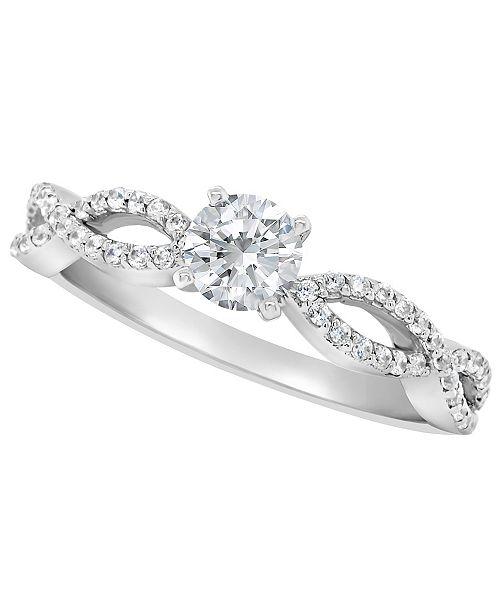 Macy's Certified Round Diamond Engagement Ring (3/4 ct. t.w.) in Platinum