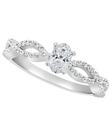 Certified Oval Diamond Engagement Ring (3/4 ct. t.w.) in Platinum