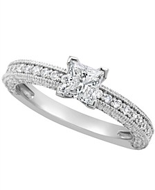 Certified Princess Cut Diamond Engagement Ring (1 1/5 ct. t.w.) in Platinum