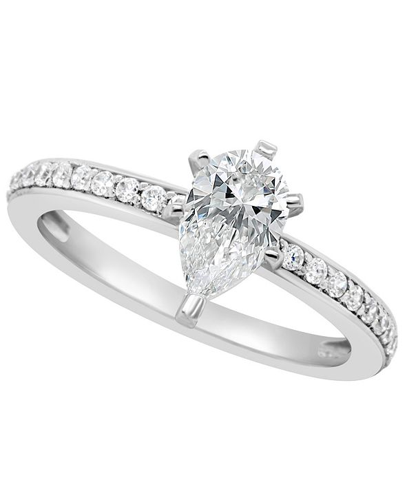 Macy's Certified Pear Shape Diamond Engagement Ring (1 ct. t.w.) in Platinum