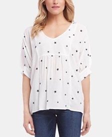 Karen Kane Embroidered Blouson-Sleeve Top