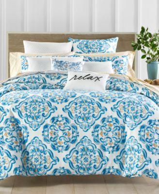 Dolce Vita Cotton 300-Thread Count Medallion-Print European Sham, Created for Macy's