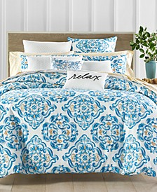 CLOSEOUT! Dolce Vita Cotton 300-Thread Count 3-Pc. Medallion-Print Full/Queen Duvet Cover Set, Created for Macy's