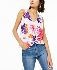 Bar III Floral-Print Twist-Front Top, Created for Macy's