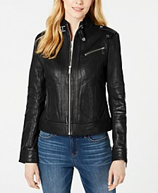 Front-Zip Leather Moto Jacket