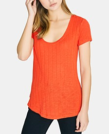 Ruby Scoop Solid Ribbed T-Shirt
