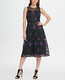 DKNY Embroidered Floral Lace Midi Dress