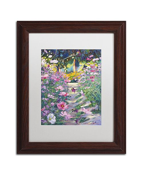 "Trademark Global David Lloyd Glover 'Garden Path of Cosmos' Matted Framed Art - 11"" x 14"""