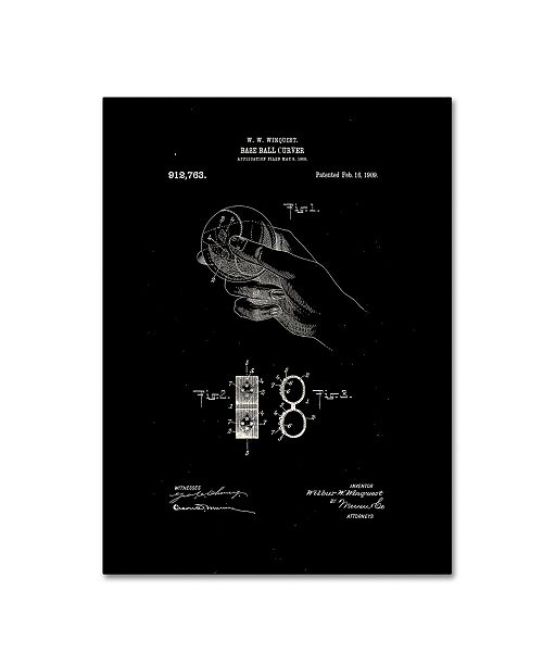 """Trademark Global Claire Doherty 'Baseball Curver Patent 1909 Black' Canvas Art - 14"""" x 19"""""""