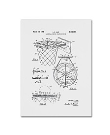 """Claire Doherty 'Basketball Hoop Patent 1965 White' Canvas Art - 14"""" x 19"""""""