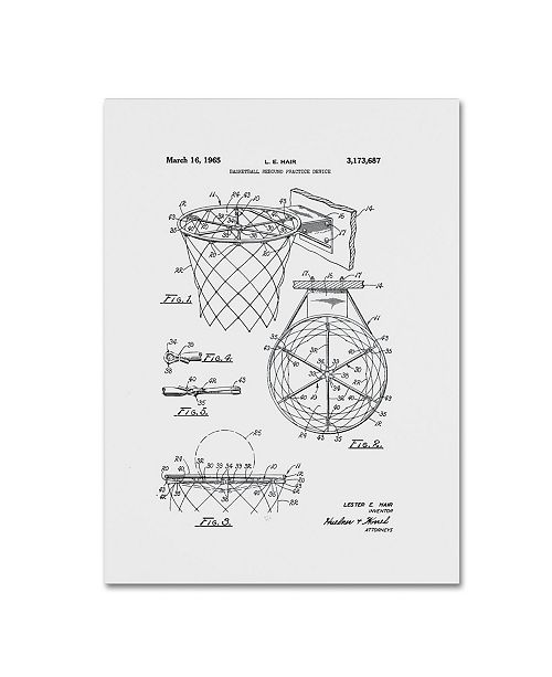 "Trademark Global Claire Doherty 'Basketball Hoop Patent 1965 White' Canvas Art - 14"" x 19"""