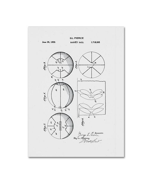 "Trademark Global Claire Doherty 'Basketball Patent 1929 White' Canvas Art - 14"" x 19"""