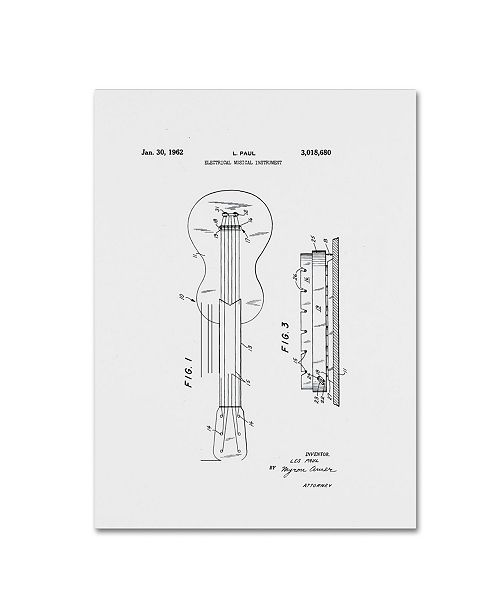 """Trademark Global Claire Doherty 'Gibson Electric Guitar Patent White' Canvas Art - 24"""" x 32"""""""