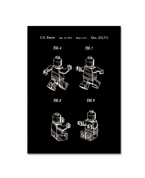 """Trademark Global Claire Doherty 'Lego Man Patent 1979 Page 2 Black' Canvas Art - 14"""" x 19"""""""