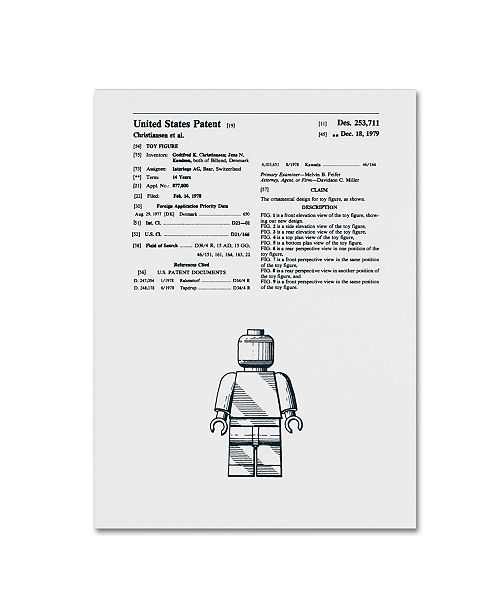 "Trademark Global Claire Doherty 'Lego Man Patent 1979 White' Canvas Art - 14"" x 19"""
