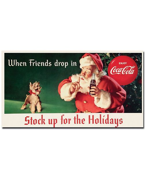 """Trademark Global Coke Santa with Dog - Stock up for the Holiday Canvas Art - 13"""" x 24"""""""