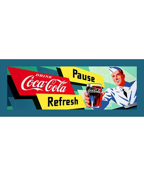 "Trademark Global Coke Waiter Stretched Canvas Art - 12"" x 36"""
