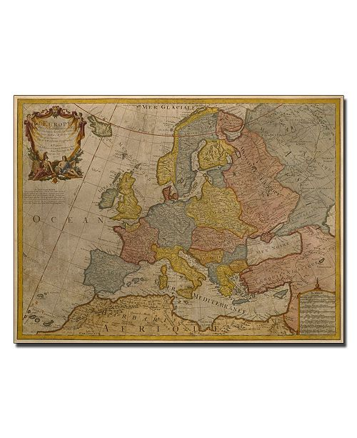 "Trademark Global Paris Guillaume Delisle 'Map of Europe 1700' Canvas Art - 14"" x 19"""