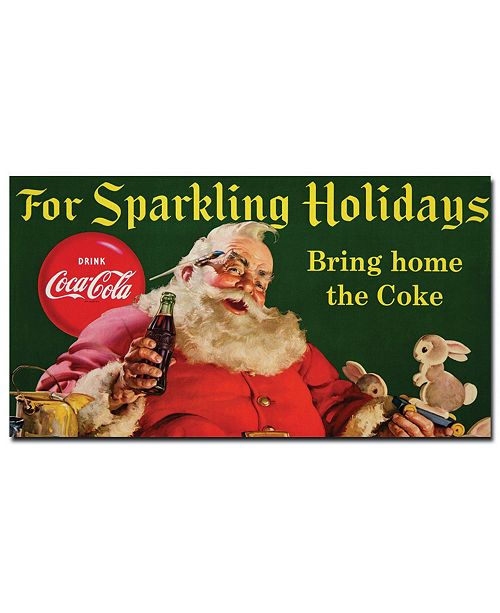"Trademark Global Coke Santa with Rabbit For Sparkeling Holidays' Canvas Art - 36"" x 24"""