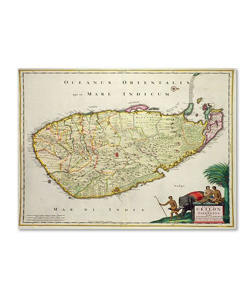"Trademark Global Nicolaes Visscher 'Map of Ceylon 1626' Canvas Art - 47"" x 35"""