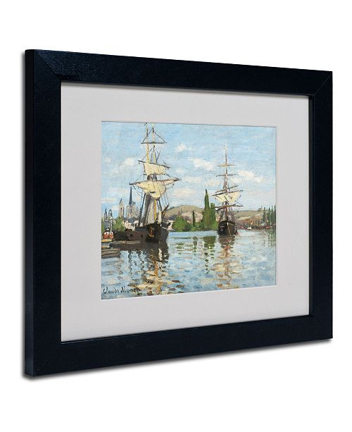 "Trademark Global Claude Monet 'Ships Riding On the Seine' Matted Framed Art - 14"" x 11"""