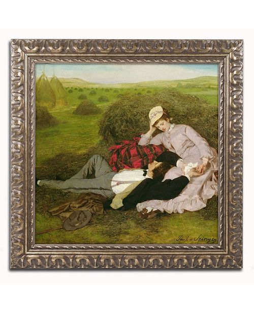 "Trademark Global Pal Szinyei Merse 'The Lovers 1870' Ornate Framed Art - 16"" x 16"""