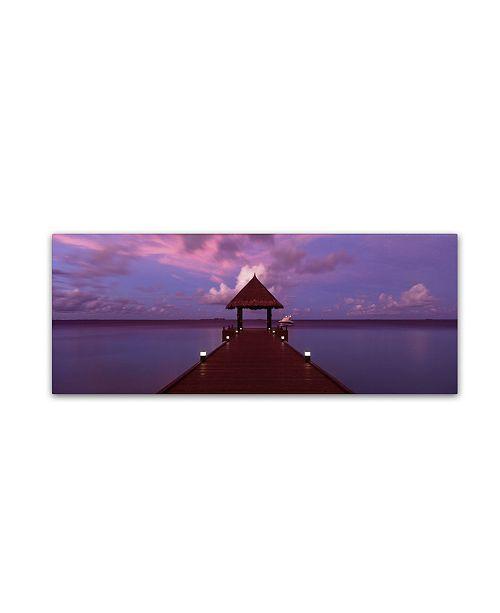 "Trademark Global David Evans 'Crimson Twilight-Maldives' Canvas Art - 16"" x 47"""