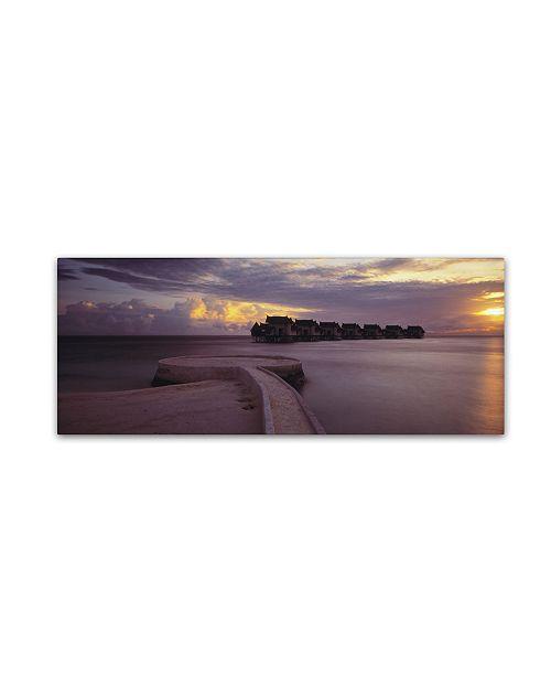 "Trademark Global David Evans 'Jumeirah Vittaveli-Maldives' Canvas Art - 8"" x 24"""