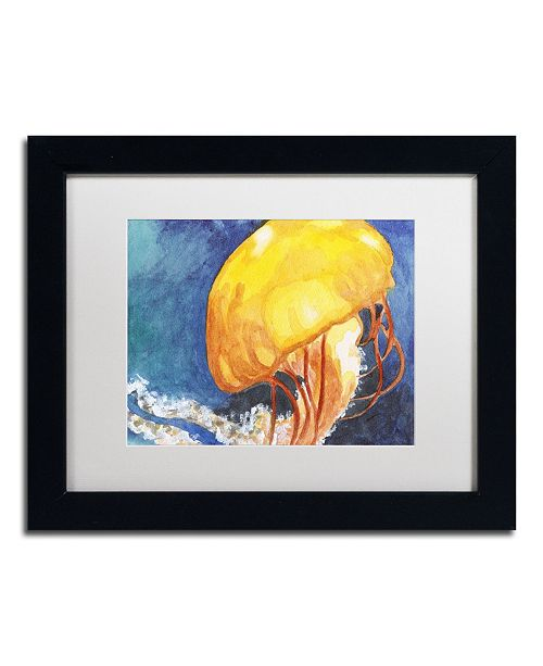"Trademark Global Jennifer Redstreake 'Jelly Fish II' Matted Framed Art - 11"" x 14"""
