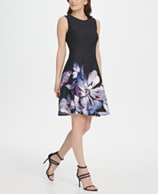 DKNY Floral Scuba Fit & Flare Dress