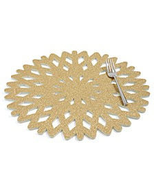 Gold Glitter Snowflake Placemat, Created for Macy's