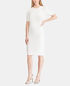 Lauren Ralph Lauren Button-Shoulder Crepe Dress