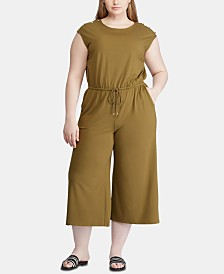 Lauren Ralph Lauren Plus Size Button-Shoulder Easy-Stretch Jumpsuit