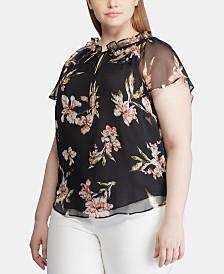 Lauren Ralph Lauren Plus Size Floral-Print Flutter-Sleeve Georgette Top
