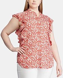 Plus Size Floral-Print Flutter-Trim Crepe Top