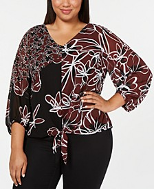 Plus Size Printed Tie-Front Blouse, Created for Macy's