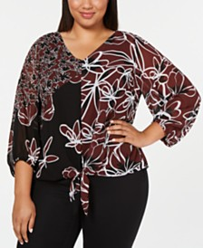 Alfani Plus Size Printed Tie-Front Blouse, Created for Macy's