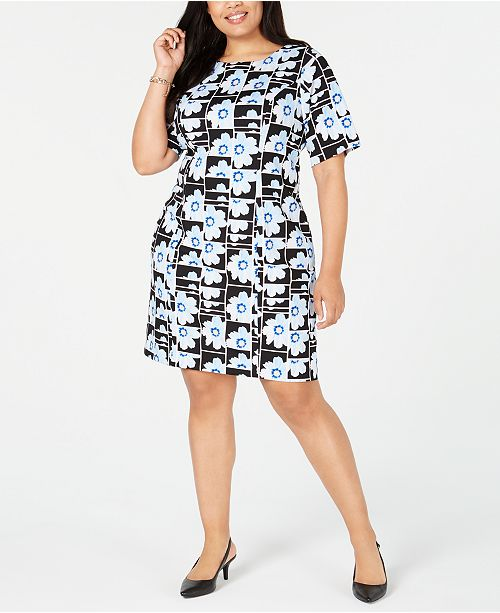 Plus Size Printed Sheath Dress, Created for Macy\'s