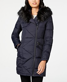 French Connection Asymmetrical Faux-Fur-Trim Puffer Coat