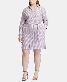 Lauren Ralph Lauren Plus Size Stripe-Print Belted Linen Shirtdress