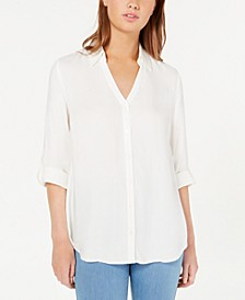 Juniors' Roll-Tab Button-Up Shirt