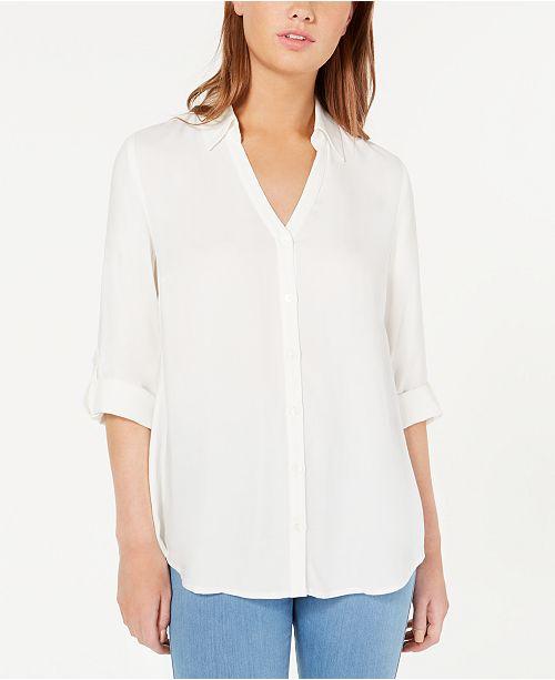 BCX Juniors' Roll-Tab Button-Up Shirt