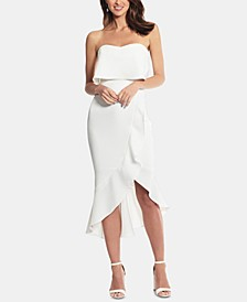 Crepe Bustier Ruffle-Hem Dress