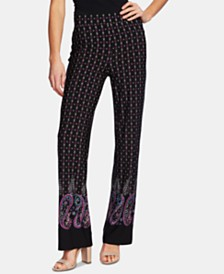 CeCe Pull-On Embroidery Print Straight-Leg Pants