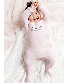 Baby Girls 1-Pc. Cat Terry Footed Pajama