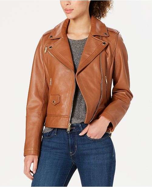Michael Kors Petite Leather Moto Jacket