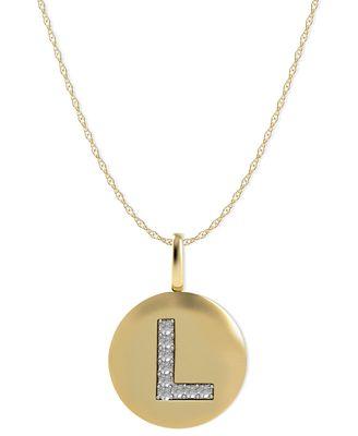 14k gold necklace diamond accent letter l disk pendant 14k gold necklace diamond accent letter l disk pendant mozeypictures Choice Image