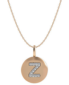 14k Rose Gold Necklace, Diamond Accent Letter Z Disk Pendant