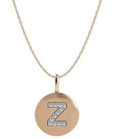 14k Rose Gold Necklace, Diamond Accent Letter Z Disk Pendant