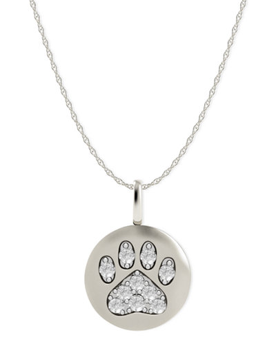 14k White Gold Necklace, Diamond Accent Paw Disk Pendant